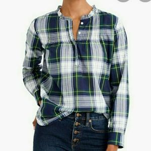 J Crew Factory Plaid Washed Pintuck Popover Sz 0